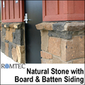 Romtec Public Restroom Exteriors - Natural Stone with Board & Batten Siding