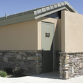 Custom Stucco - Stone Exterior for Romtec Public Restrooms